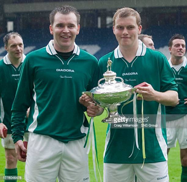 V FALKIRK .HAMPDEN - GLASGOW.St Patrick's goal heros John Deeley and Thomas Smith celebrate winning the Scottish Amateur Cup.