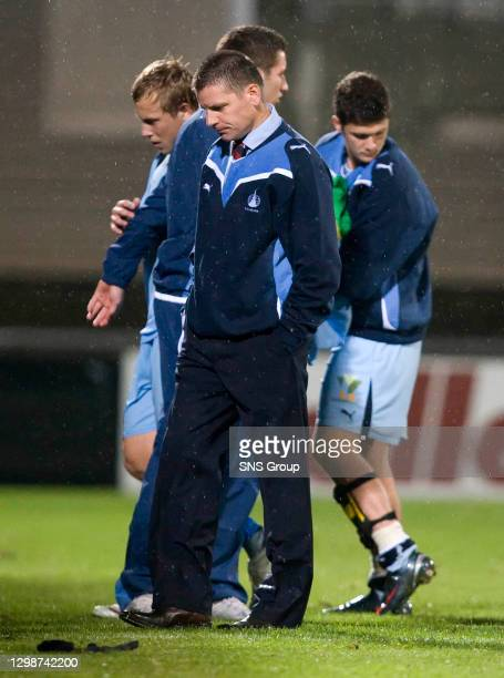 V FALKIRK.VADUZ - LIECHTENSTEIN.Falkirk boss Eddie May can't believe it as his side crash out of the Europa League
