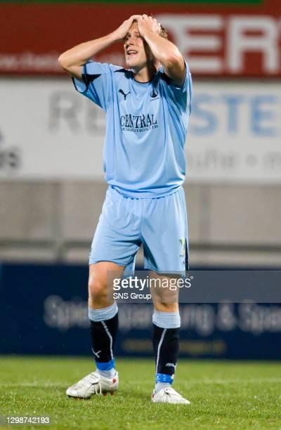 V FALKIRK.VADUZ - LIECHTENSTEIN.Scott Arfield holds his head as Falkirk lose out