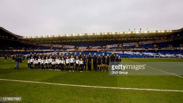 V FRANCE .MURRAYFIELD - EDINBURGH .The Scotland team line-up for the national anthem as Murrayfield becomes submerged in a sea of blue and white