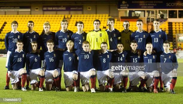V GERMANY U17 .ALMONDVALE - LIVINGSTON.The Scotland U17 team. Grant Mosson, Darren Cole, Scott Smith, Cameron Howie, Ryan Jack, Connor Fairley, Ross...