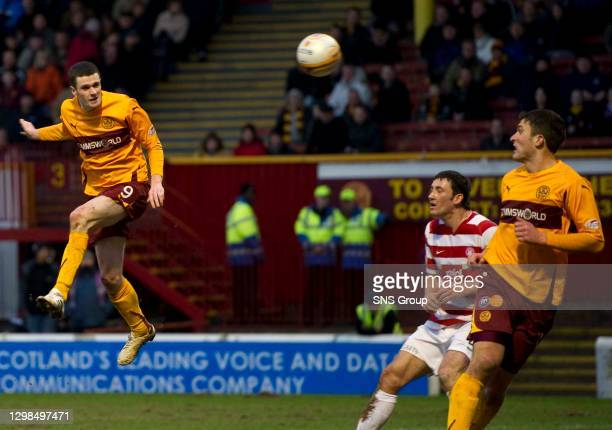 V HAMILTON.FIR PARK - MOTHERWELL.Ross Forbes has a chance to further increase Motherwell's lead with a late header
