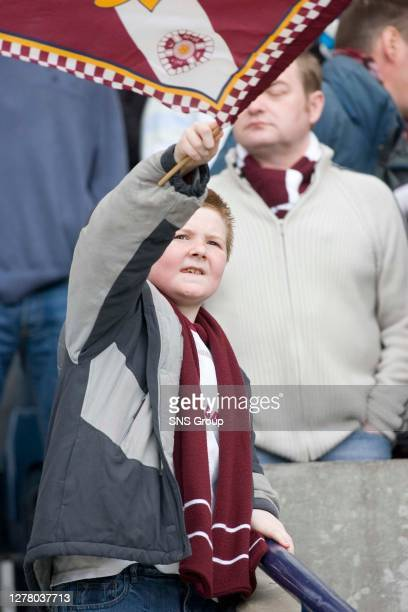 V HEARTS .HAMPDEN - GLASGOW .A young Hearts fan cheers his team on from the stand.