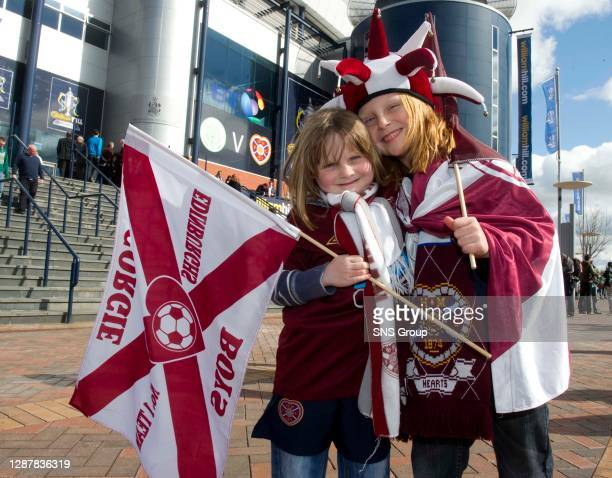 V HEARTS .HAMPDEN - GLASGOW.Young Hearts fans look ahead to the match