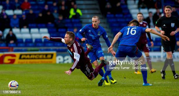V HEARTS.CALEDONIAN STADIUM - INVERNESS.Hearts' Ryan Stevenson loses his footing after passing Greg Tansey .