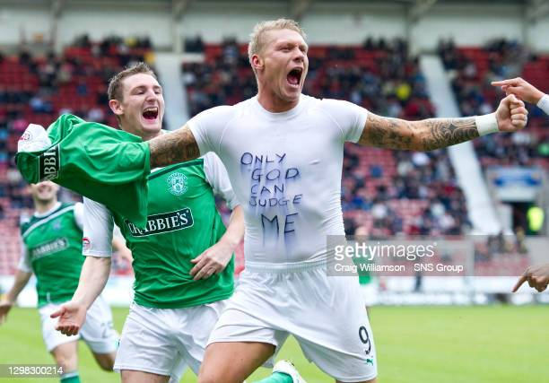 V HIBERNIAN .EAST END PARK - DUNFERMLINE.Garry O'Connor is ecstatic after firing Hibernian's second goal and uses the occassion to hit back at the...