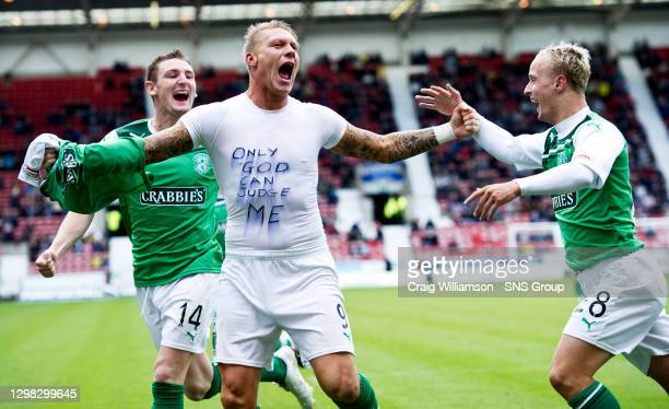 V HIBERNIAN.EAST END PARK - DUNFERMLINE.Garry O'Connor is ecstatic after firing Hibernian's second goal and uses the occassion to hit back at the...