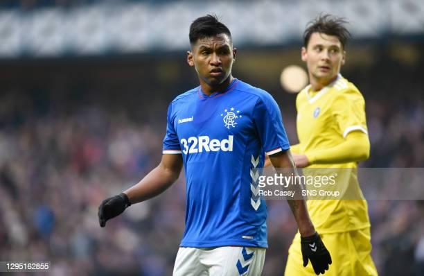 V HJK HELSINKI.IBROX - GLASGOW .Alfredo Morelos in action for Rangers against his former club