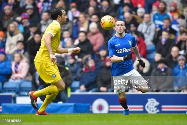 V HJK HELSINKI.IBROX - GLASGOW .Ryan Kent in action for Rangers