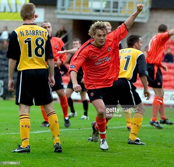V LIVINGSTON .TANNADICE - DUNDEE .David Fernandez dashes off to celebrate after putting Dundee Utd ahead.