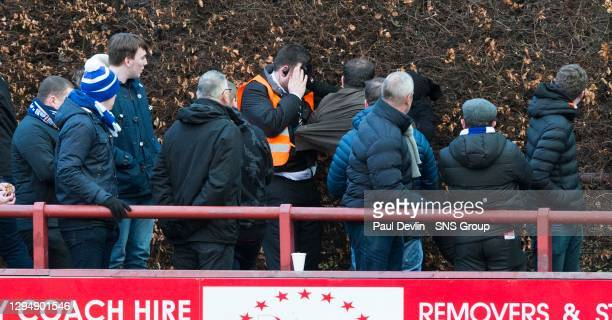 V MORTON FC.BRECHIN - GLEBE PARK.an altercation between fans and security