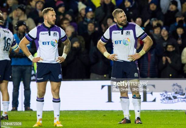 V NEW ZEALAND.BT MURRAYFIELD STADIUM - EDINBURGH.Scotland captain John Barclay and Byron McGuigan look dejected at full time