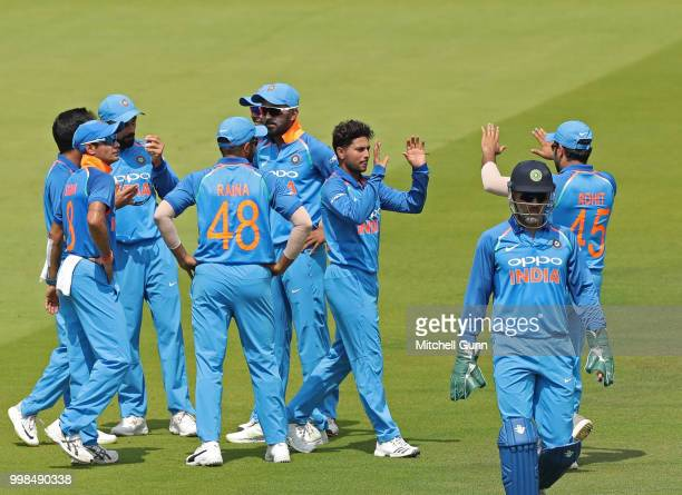 v of India celebrates taking the wicket of Jonny Bairstow of England during the 2nd Royal London One day International match between England and...