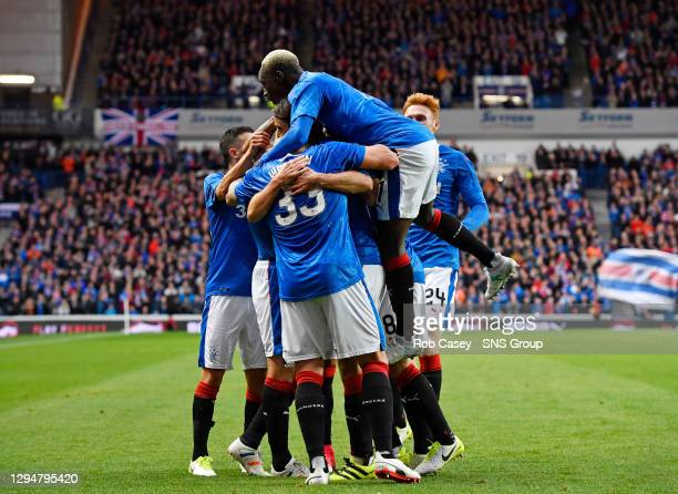 V PROGRES NIEDERKORN .IBROX - GLASGOW .Rangers' Kenny Miller celebrates with his team-mates after firing them ahead