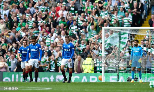 V RANGERS .CELTIC PARK - GLASGOW .Dejection for the Rangers players after conceding a fifth goal