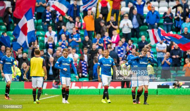 V RANGERS .CELTIC PARK - GLASGOW .Dejection for the Rangers players at full-time
