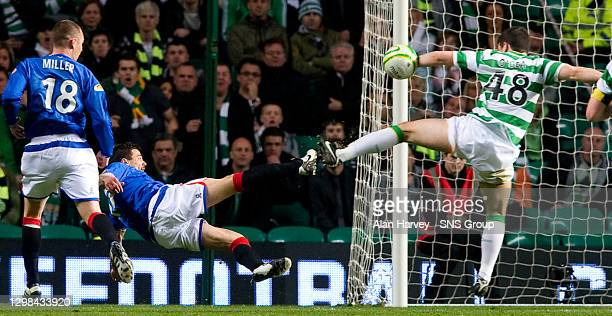 V RANGERS .CELTIC PARK - GLASGOW.Rangers are extremely unlucky not to win a late penalty as Nacho Novo's shot clearly comes off the arm of Darren...