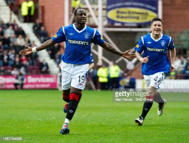 V RANGERS.TYNECASTLE - EDINBURGH.Sone Aluko celebrates after breaking the deadlock for Rangers on 29 minutes.