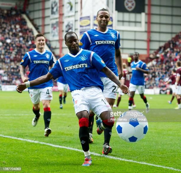 V RANGERS.TYNECASTLE - EDINBURGH.Sone Aluko kicks a beach ball in celebration after scoring for Rangers.