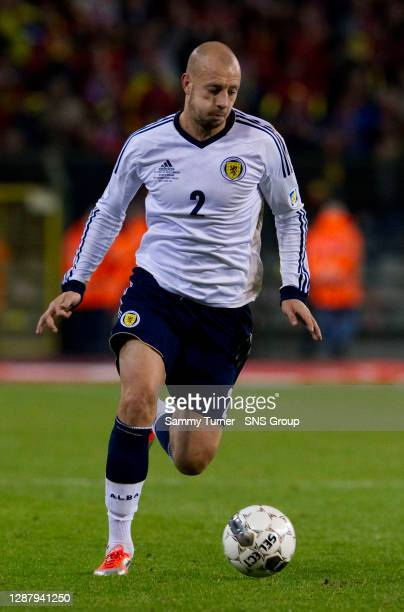V SCOTLAND .KING BAUDOUIN STADIUM - BRUSSELS.Alan Hutton in action for Scotland