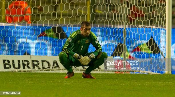 V SCOTLAND.KING BAUDOUIN STADIUM - BRUSSELS.Goalkeeper Allan McGregor's face says it all as Scotland lose out in Belgium
