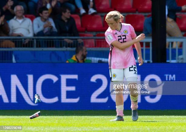 V SCOTLAND.RENNES - FRANCE.Scotland's Erin Cuthbert throws her shin guards onto the pitch at full-time