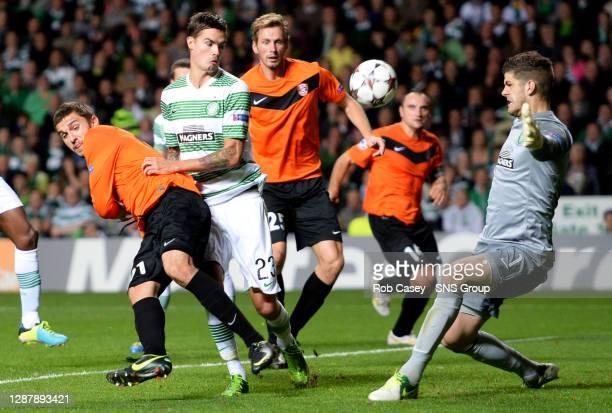 CELTIC v SHAKHTER KARAGANDYCELTIC PARK GLASGOWShakhter Karagandy's Sergei Khizhnichenko causes problems for Celtic pair Mikael Lustig and Fraser...