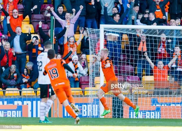 V ST MIRREN.FIR PARK - MOTHERWELL.Dundee Utd's Thomas Mikkelsen celebrates at full-time