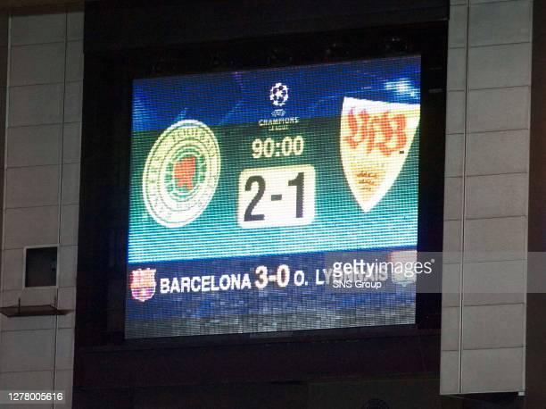 V STUTTGART .IBROX - GLASGOW.The Ibrox screen tells the story of an impressive Champions League win.