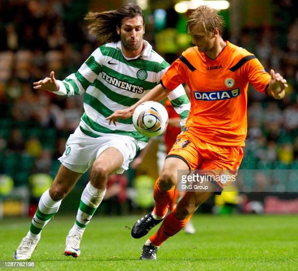 V UDINESE.CELTIC PARK - GLASGOW.Celtic's Georgios Samaras with Joel Ekstrand