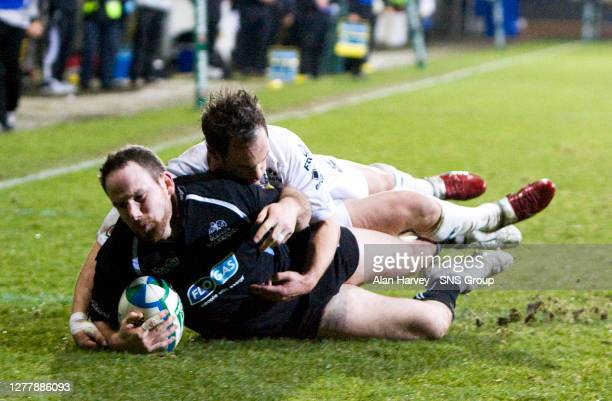 V VIADANA .FIRHILL - GLASGOW.Graeme Morrison goes over the line for Glasgow Warriors