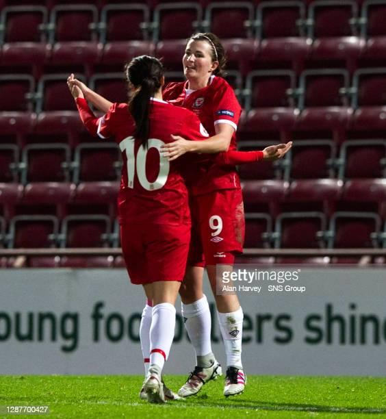 V WALES WOMEN.TYNECASTLE - EDINBURGH.Dancing with the Stars....Wales scorer Helen Lander and Gwennan Harries celebrate
