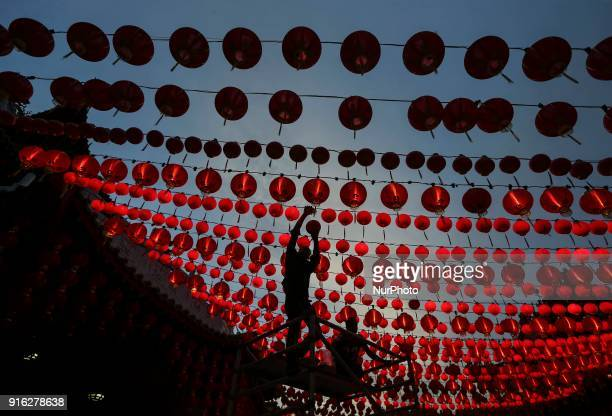 vA workers prepare lanterns decoration at Thean Hou Temple Kuala Lumpur on 09 February 2018The Chinese Lunar New Year begins on 16 February and marks...