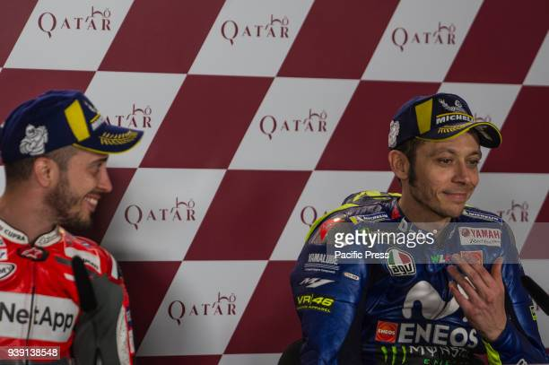CIRCUIT LUSAIL DOHA QATAR Vaalentino Rossi and Andrea Dovizioso at press conference after race Qatar Motorcycle Grand Prix race day at Losail...