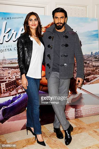 Vaani Kapoor and Ranveer Singh attend a photocall for Bollywood film 'Befikre' on November 21 2016 in London United Kingdom