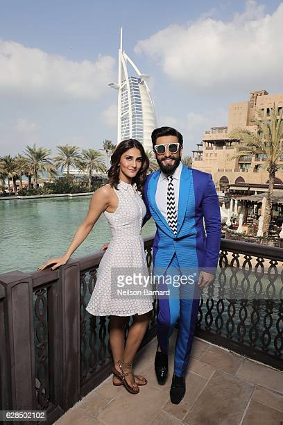 Vaani Kapoor and Ranveer Singh pose at a portrait session during day two of the 13th annual Dubai International Film Festival held at the Madinat...
