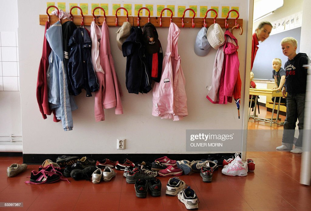 Jackets and shoes of pupils are seen 17 August 2005 in a primary ...