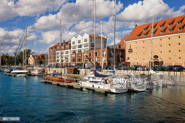 vacaions in poland - home marina in gdansk, poland - motlawa river stock pictures, royalty-free photos & images