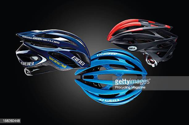 Vacansoleil-DCM BBB Falcon, Garmin-Barracuda Giro Aeon and BMC Racing Bell Gage bicycle helmets. Photographed during a studio shoot for ProCycling...