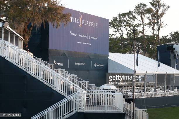 Vacant grandstand is seen on the 17th hole after the cancellation of the The PLAYERS Championship and consecutive PGA Tour events through April...