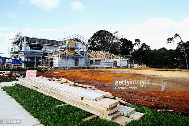 A vacant plot of land is seen within the new Riverhead housing development on May 19 2016 in Auckland Auckland Funding for new housing and the...