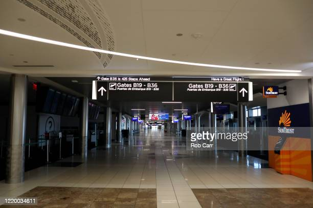 A vacant terminal B is shown at HartsfieldJackson Atlanta International Airport on April 20 2020 in Atlanta Georgia The airline industry has been hit...
