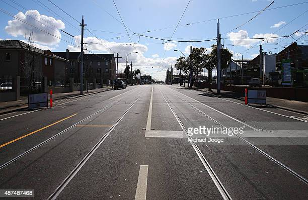 Vacant trams tracks on Mount Alexander Road are seen during the strike by Yarra Tram workers on September 10 2015 in Melbourne Australia Tram drivers...