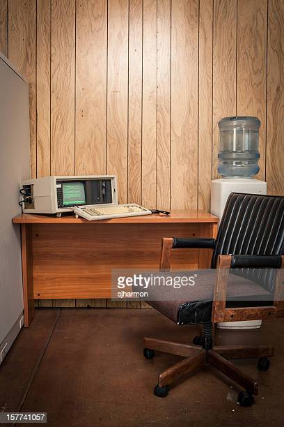 Vacant vintage 70's or 80's wood office interior
