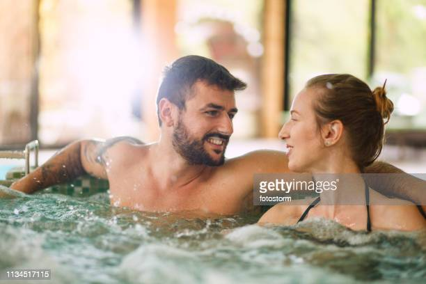 vacation at wellness resort - hot tub stock pictures, royalty-free photos & images