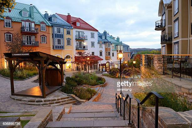 vacation condos in mont tremblant resort - mont tremblant stock pictures, royalty-free photos & images