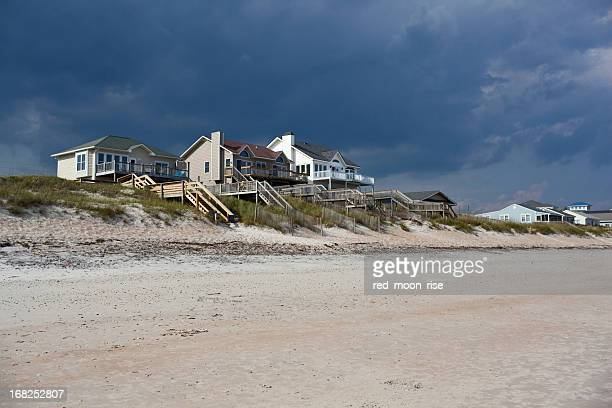 vacation homes on topsail island - nc outer banks - outer banks stock pictures, royalty-free photos & images