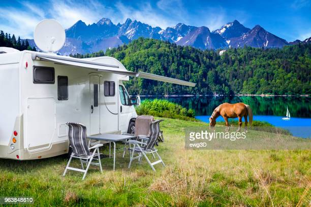 Vacation in Poland - camper by the Czorsztyn lake and Tatra Mountains landscape
