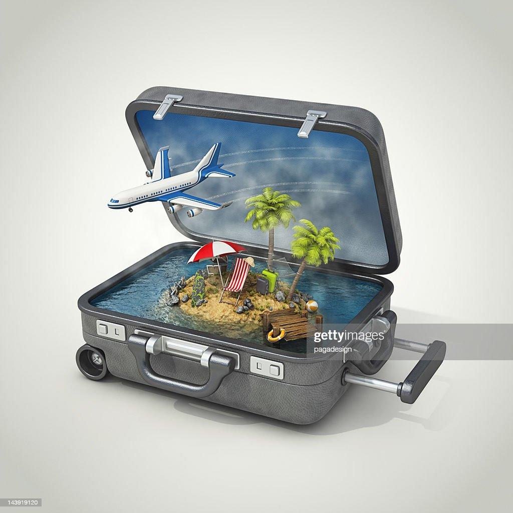 Vacaciones isla con maleta : Foto de stock
