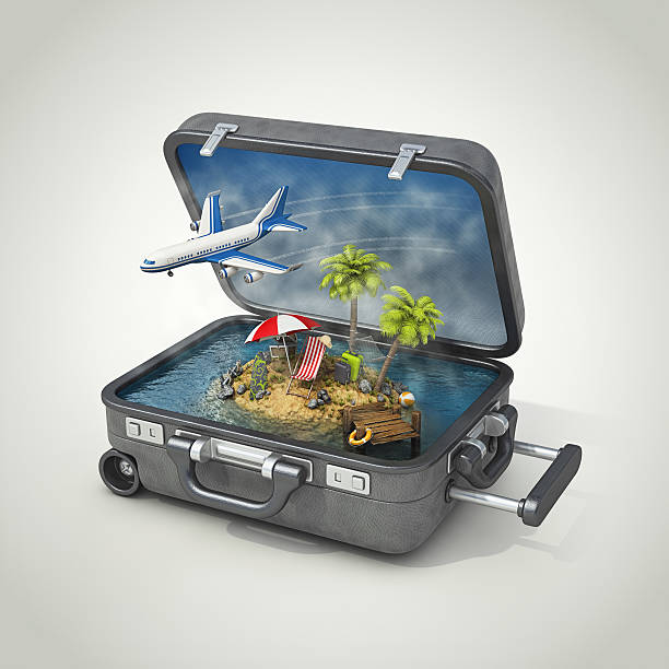 Vacation Island In Suitcase Wall Art